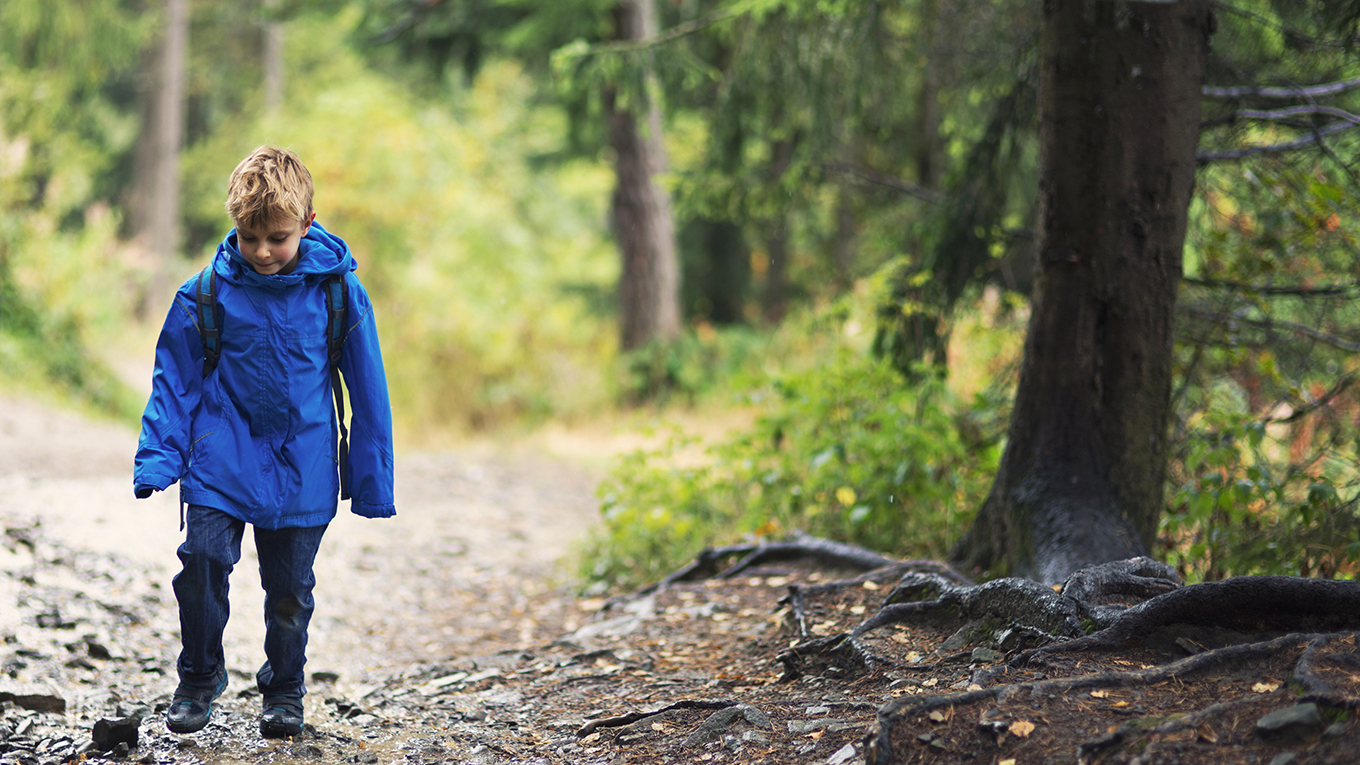 boy wearing waterproof jacket