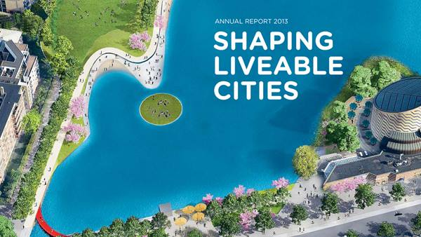 "Frontpage of annual report ""Shaping Liveable Cities"""