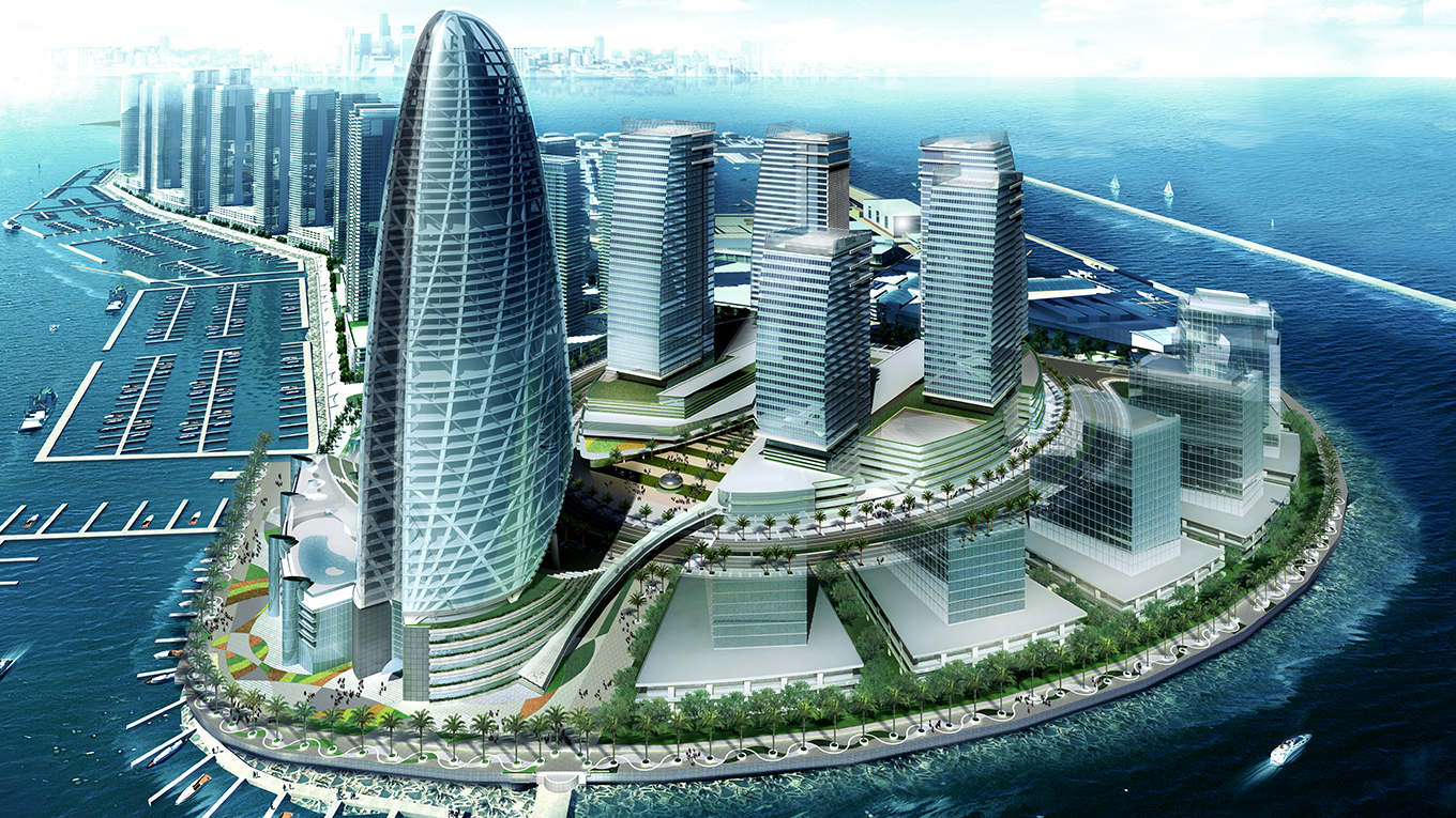 Nikken Sekkei's Dubai Maritime City complex, Creek Towers and Plaza in Dubai