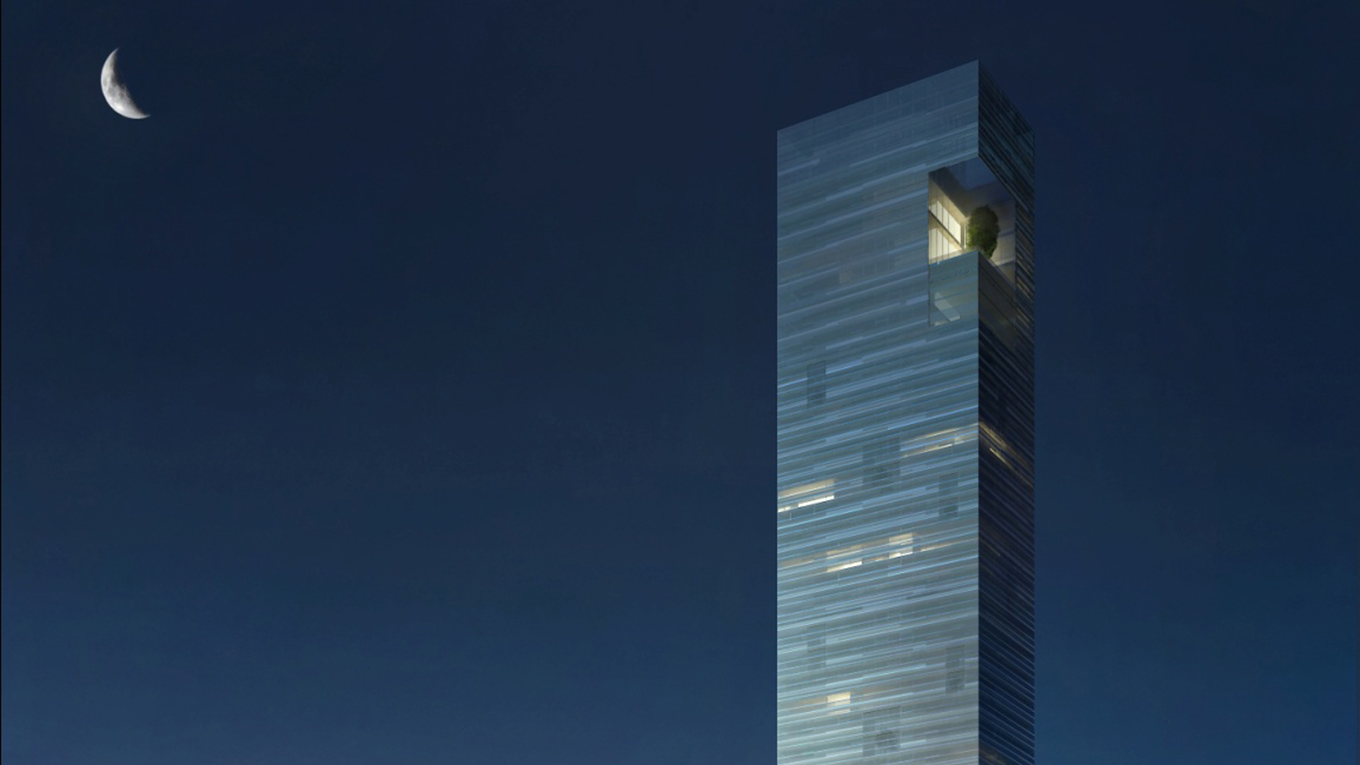 A high-end residential tower sitting in a prominent position on the Jeddah corniche.