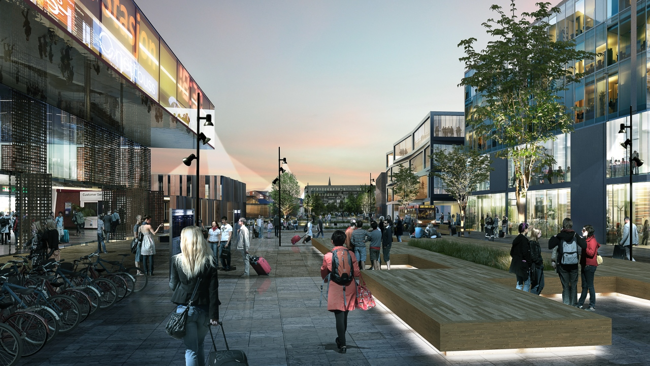 The new Moss station will be surrounded by a lively urban scene